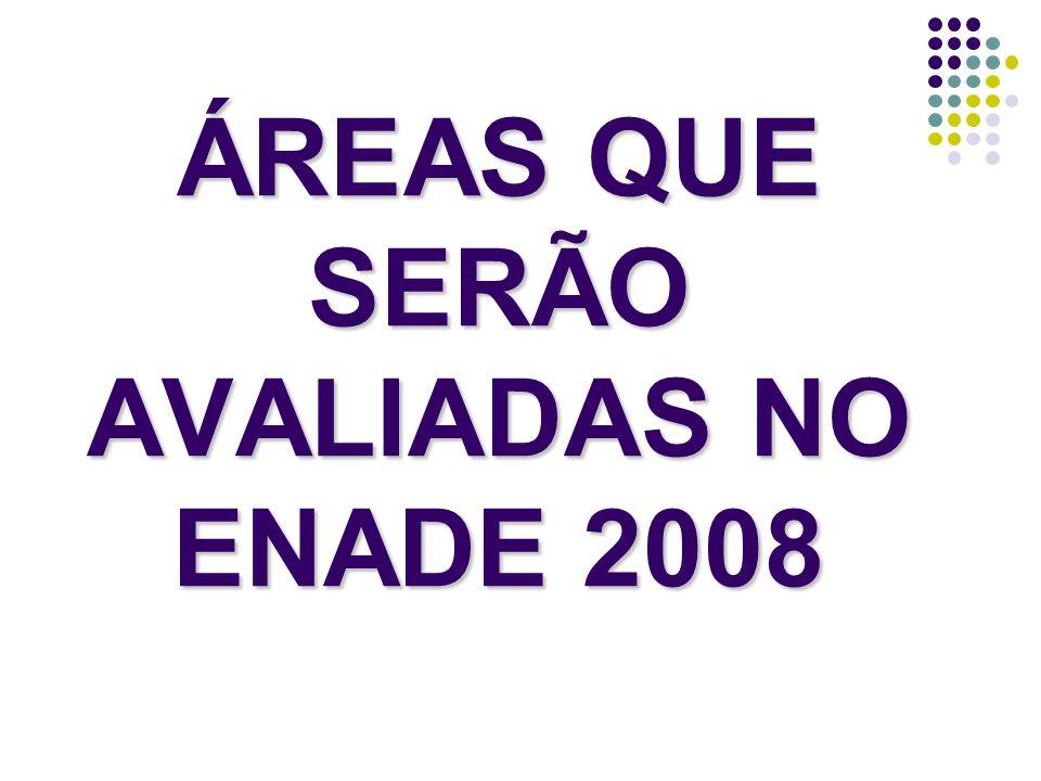 ÁREAS QUE SERÃO AVALIADAS NO ENADE 2008