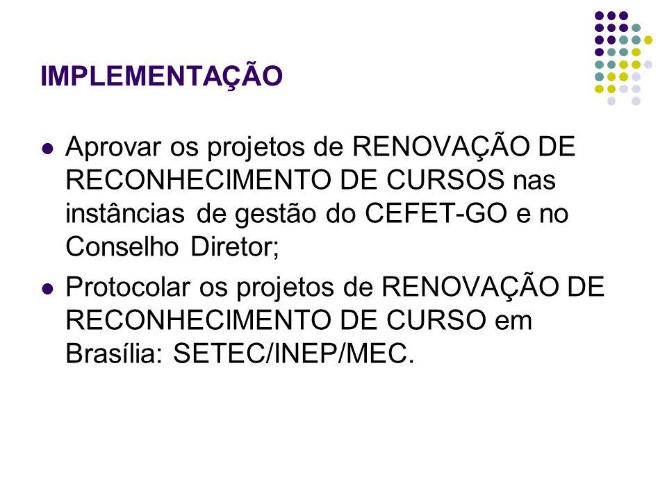IMPLEMENTAÇÃO Aprovar os projetos de RENOVAÇÃO DE RECONHECIMENTO DE CURSOS nas instâncias de gestão do CEFET-GO e no Conselho Diretor; Protocolar os projetos de RENOVAÇÃO DE RECONHECIMENTO DE CURSO em Brasília: SETEC/INEP/MEC.