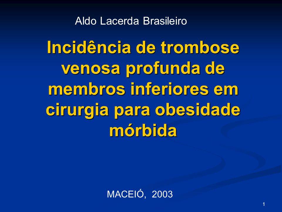 1 Incidência de trombose venosa profunda de membros inferiores em cirurgia para obesidade mórbida MACEIÓ, 2003 Aldo Lacerda Brasileiro