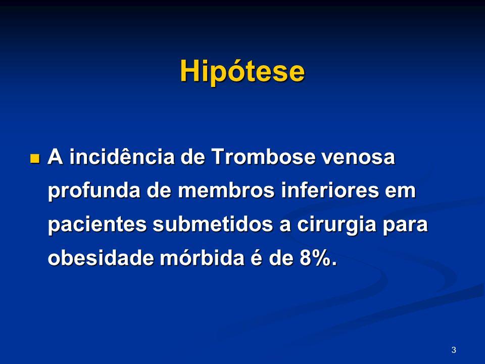 3 Hipótese A incidência de Trombose venosa profunda de membros inferiores em pacientes submetidos a cirurgia para obesidade mórbida é de 8%.