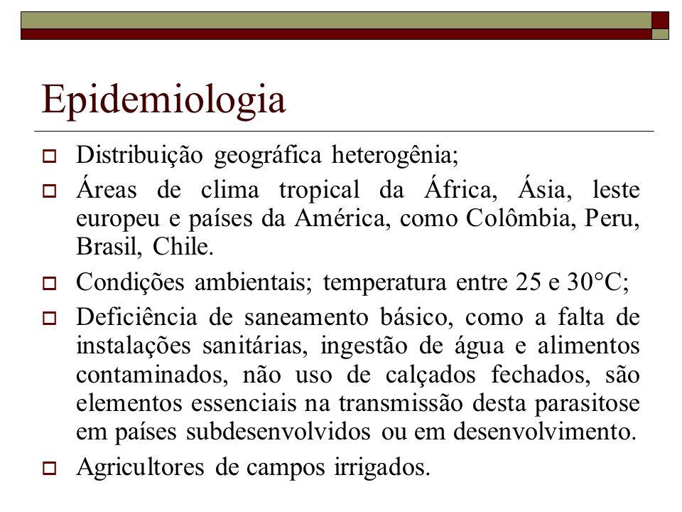 Epidemiologia Distribuição geográfica heterogênia; Áreas de clima tropical da África, Ásia, leste europeu e países da América, como Colômbia, Peru, Brasil, Chile.