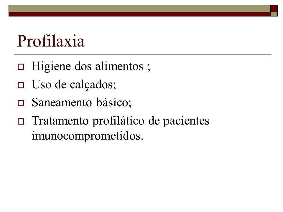 Profilaxia Higiene dos alimentos ; Uso de calçados; Saneamento básico; Tratamento profilático de pacientes imunocomprometidos.