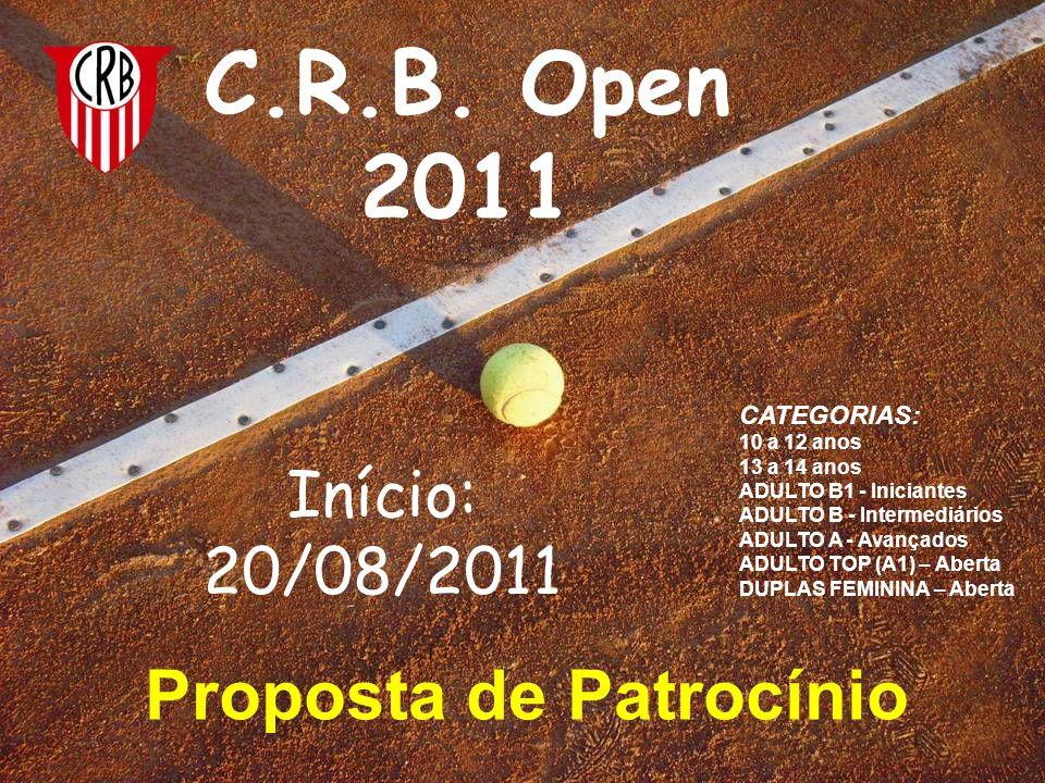 Proposta de Patrocínio C.R.B. Open 2011 Início: 20/08/2011 CATEGORIAS: 10 a 12 anos 13 a 14 anos ADULTO B1 - Iniciantes ADULTO B - Intermediários ADUL