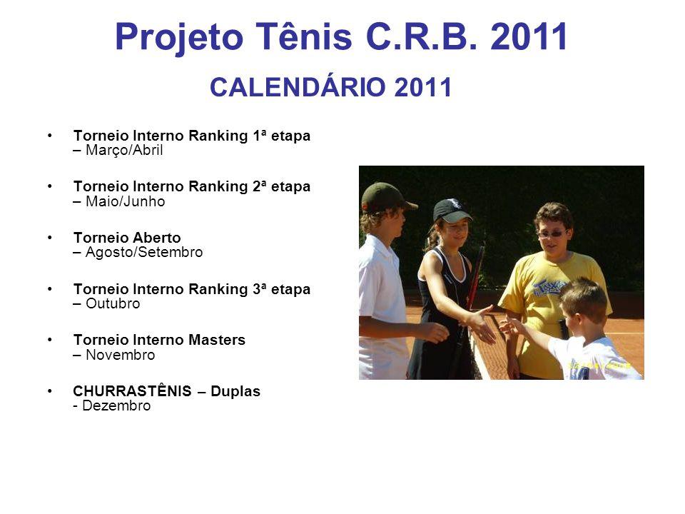 CALENDÁRIO 2011 Torneio Interno Ranking 1ª etapa – Março/Abril Torneio Interno Ranking 2ª etapa – Maio/Junho Torneio Aberto – Agosto/Setembro Torneio