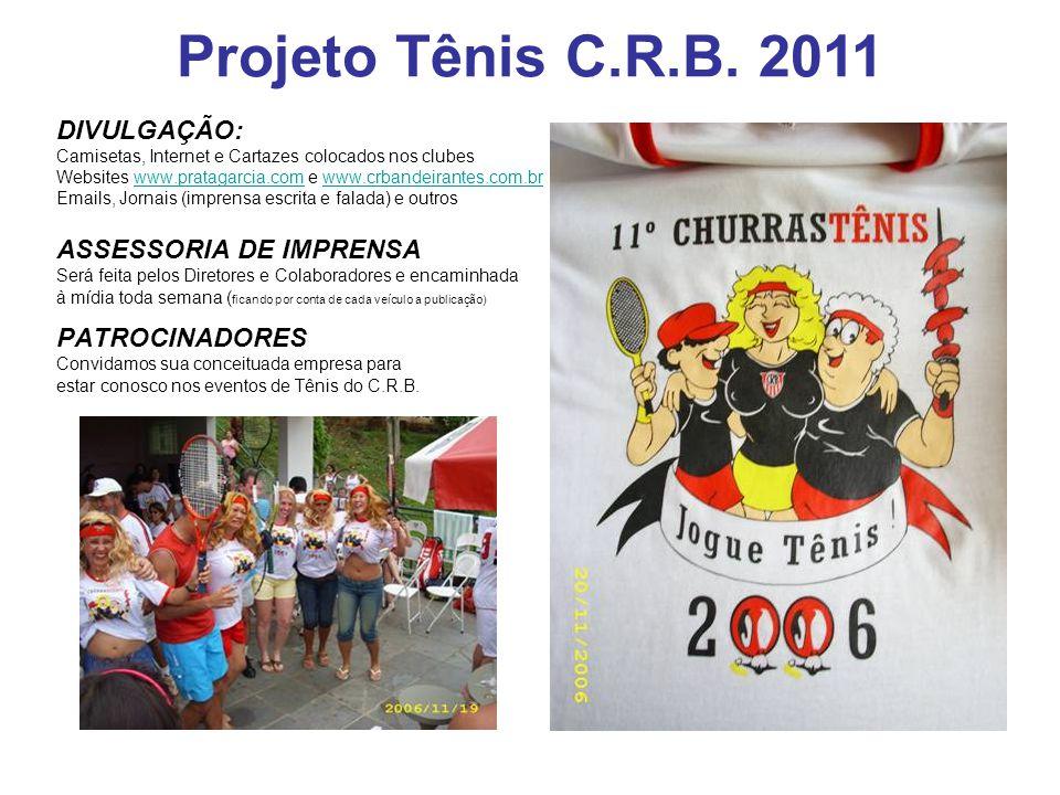 DIVULGAÇÃO: Camisetas, Internet e Cartazes colocados nos clubes Websites www.pratagarcia.com e www.crbandeirantes.com.brwww.pratagarcia.comwww.crbande