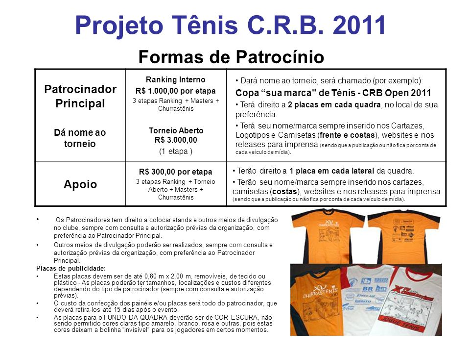 Formas de Patrocínio Patrocinador Principal Dá nome ao torneio Ranking Interno R$ 1.000,00 por etapa 3 etapas Ranking + Masters + Churrastênis Torneio