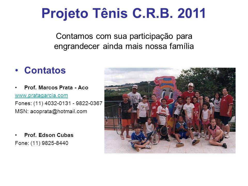 Contatos Prof. Marcos Prata - Aco www.pratagarcia.com Fones: (11) 4032-0131 - 9822-0367 MSN: acoprata@hotmail.com Prof. Edson Cubas Fone: (11) 9825-84