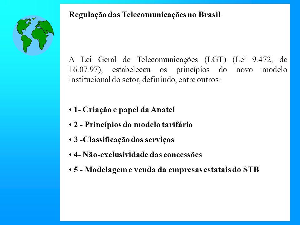 A Lei Geral de Telecomunicações (LGT) (Lei 9.472, de 16.07.97), estabeleceu os princípios do novo modelo institucional do setor, definindo, entre outros: 1- Criação e papel da Anatel 2 - Princípios do modelo tarifário 3 -Classificação dos serviços 4- Não-exclusividade das concessões 5 - Modelagem e venda da empresas estatais do STB