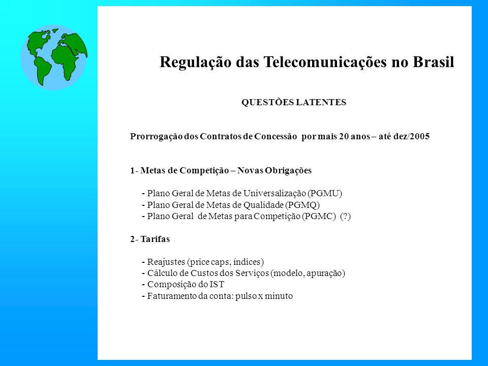 Regulação das Telecomunicações no Brasil QUESTÕES LATENTES Prorrogação dos Contratos de Concessão por mais 20 anos – até dez/2005 1- Metas de Competição – Novas Obrigações - Plano Geral de Metas de Universalização (PGMU) - Plano Geral de Metas de Qualidade (PGMQ) - Plano Geral de Metas para Competição (PGMC) (?) 2- Tarifas - Reajustes (price caps, índices) - Cálculo de Custos dos Serviços (modelo, apuração) - Composição do IST - Faturamento da conta: pulso x minuto