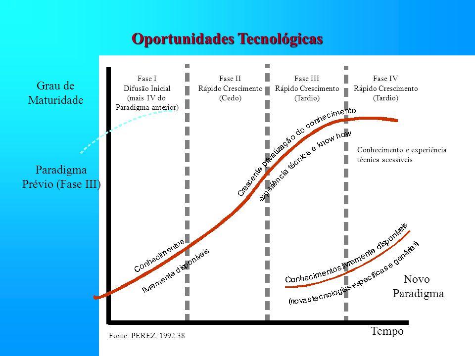 Oportunidades Tecnológicas Grau de Maturidade Fase I Difusão Inicial (mais IV do Paradigma anterior) Fase II Rápido Crescimento (Cedo) Fase III Rápido Crescimento (Tardio) Fase IV Rápido Crescimento (Tardio) Tempo Novo Paradigma Prévio (Fase III) Fonte: PEREZ, 1992:38 Conhecimento e experiência técnica acessíveis