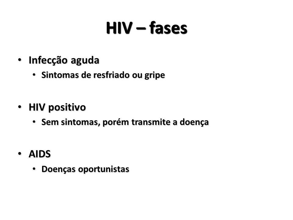 HIV – fases Infecção aguda Infecção aguda Sintomas de resfriado ou gripe Sintomas de resfriado ou gripe HIV positivo HIV positivo Sem sintomas, porém transmite a doença Sem sintomas, porém transmite a doença AIDS AIDS Doenças oportunistas Doenças oportunistas
