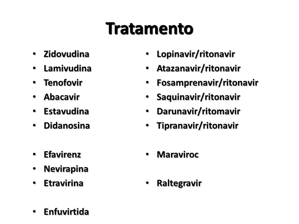 Tratamento Zidovudina Zidovudina Lamivudina Lamivudina Tenofovir Tenofovir Abacavir Abacavir Estavudina Estavudina Didanosina Didanosina Efavirenz Efavirenz Nevirapina Nevirapina Etravirina Etravirina Enfuvirtida Enfuvirtida Lopinavir/ritonavir Lopinavir/ritonavir Atazanavir/ritonavir Atazanavir/ritonavir Fosamprenavir/ritonavir Fosamprenavir/ritonavir Saquinavir/ritonavir Saquinavir/ritonavir Darunavir/ritomavir Darunavir/ritomavir Tipranavir/ritonavir Tipranavir/ritonavir Maraviroc Maraviroc Raltegravir Raltegravir