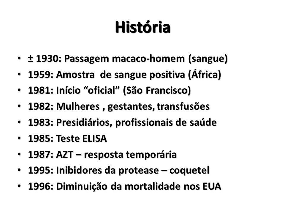 História ± 1930: Passagem macaco-homem (sangue) ± 1930: Passagem macaco-homem (sangue) 1959: Amostra de sangue positiva (África) 1959: Amostra de sangue positiva (África) 1981: Início oficial (São Francisco) 1981: Início oficial (São Francisco) 1982: Mulheres, gestantes, transfusões 1982: Mulheres, gestantes, transfusões 1983: Presidiários, profissionais de saúde 1983: Presidiários, profissionais de saúde 1985: Teste ELISA 1985: Teste ELISA 1987: AZT – resposta temporária 1987: AZT – resposta temporária 1995: Inibidores da protease – coquetel 1995: Inibidores da protease – coquetel 1996: Diminuição da mortalidade nos EUA 1996: Diminuição da mortalidade nos EUA