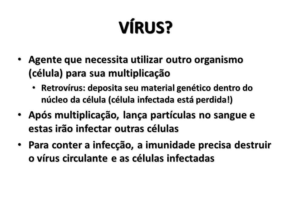 VÍRUS – HIV É um retrovírus É um retrovírus Após entrar no organismo, tem preferência por células que possuem um receptor na superfície chamado CD4 Após entrar no organismo, tem preferência por células que possuem um receptor na superfície chamado CD4 As células infectadas seguem dois caminhos As células infectadas seguem dois caminhos Multiplicação ativa: atacadas pela imunidade Multiplicação ativa: atacadas pela imunidade Sem multiplicação: a imunidade não as localiza Sem multiplicação: a imunidade não as localiza O coquetel age sobre o vírus que se multiplica O coquetel age sobre o vírus que se multiplica