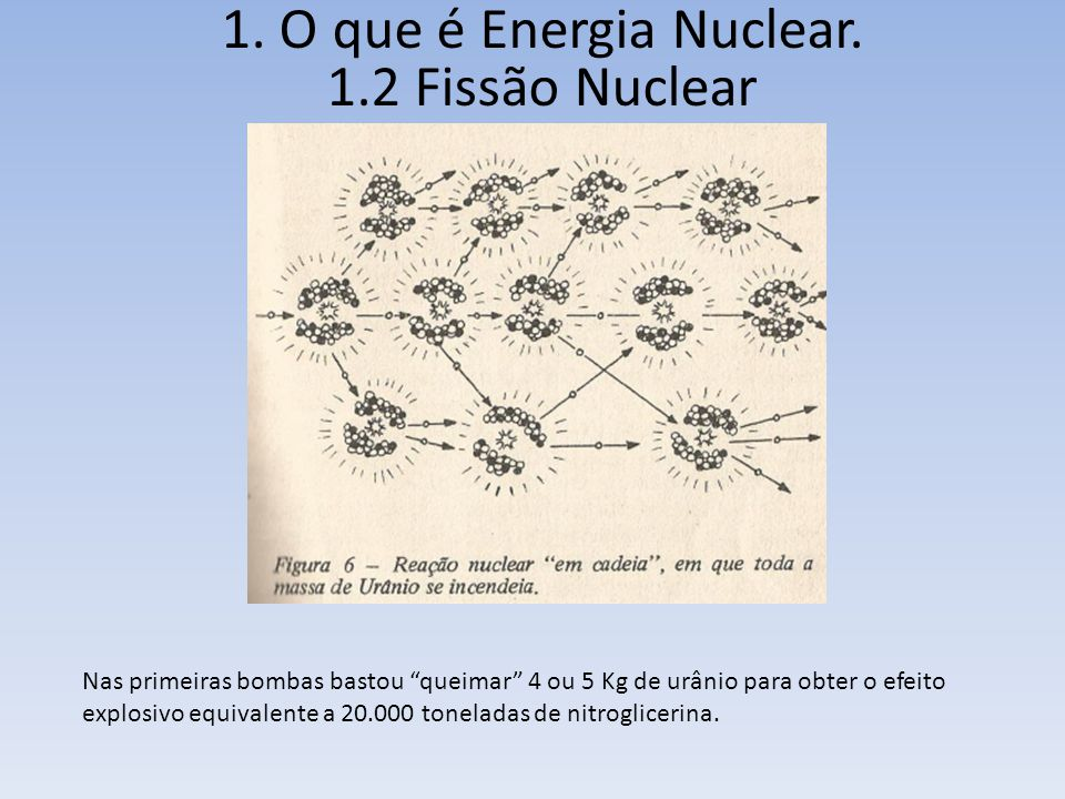 Nas primeiras bombas bastou queimar 4 ou 5 Kg de urânio para obter o efeito explosivo equivalente a 20.000 toneladas de nitroglicerina.