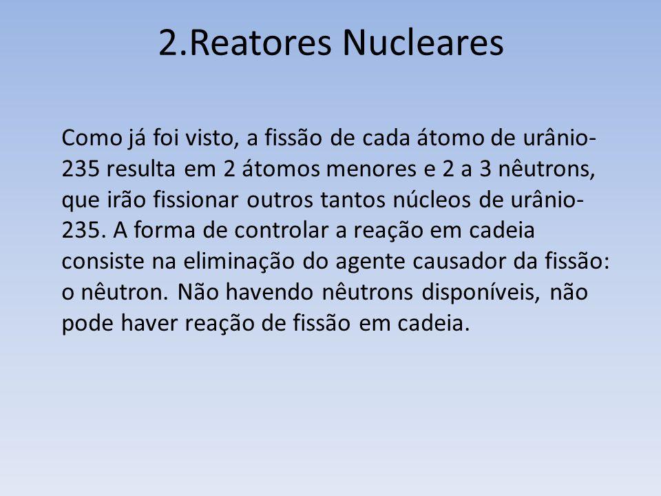 2.Reatores Nucleares Como já foi visto, a fissão de cada átomo de urânio- 235 resulta em 2 átomos menores e 2 a 3 nêutrons, que irão fissionar outros