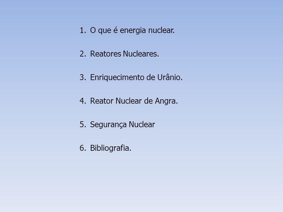 1.O que é energia nuclear. 2.Reatores Nucleares. 3.Enriquecimento de Urânio. 4.Reator Nuclear de Angra. 5.Segurança Nuclear 6.Bibliografia.