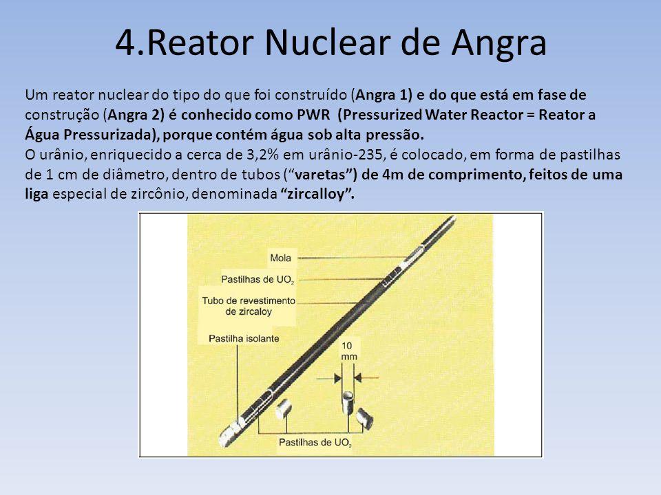 Um reator nuclear do tipo do que foi construído (Angra 1) e do que está em fase de construção (Angra 2) é conhecido como PWR (Pressurized Water Reacto