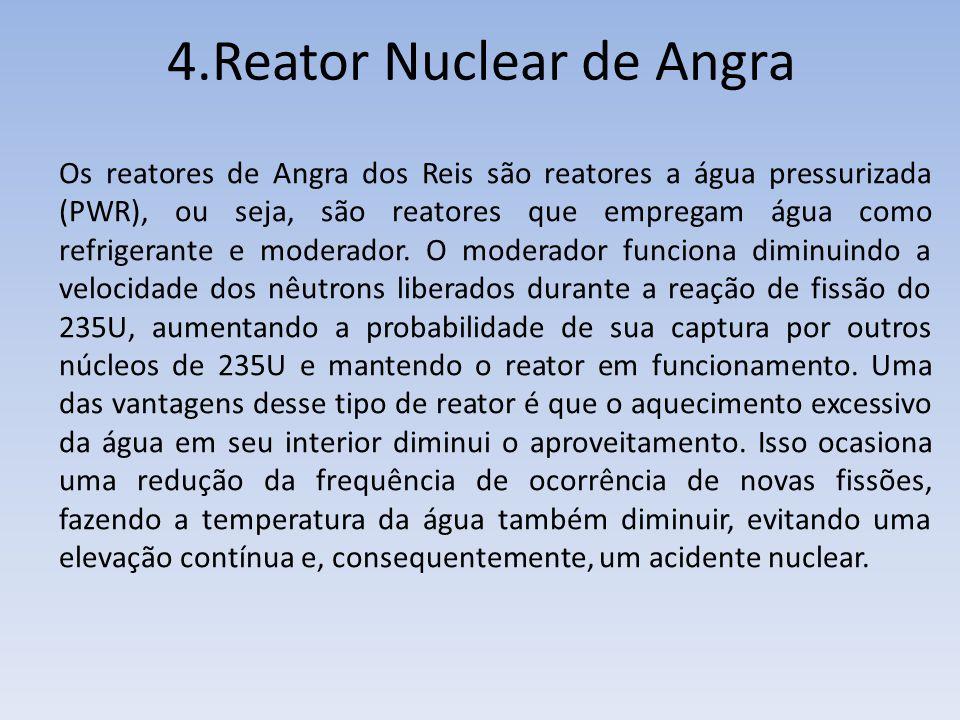 Os reatores de Angra dos Reis são reatores a água pressurizada (PWR), ou seja, são reatores que empregam água como refrigerante e moderador. O moderad