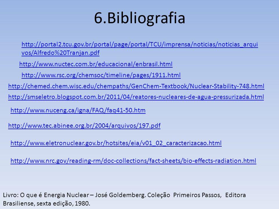 6.Bibliografia Livro: O que é Energia Nuclear – José Goldemberg. Coleção Primeiros Passos, Editora Brasiliense, sexta edição, 1980. http://www.rsc.org