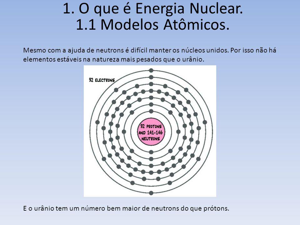1. O que é Energia Nuclear. 1.1 Modelos Atômicos. Mesmo com a ajuda de neutrons é difícil manter os núcleos unidos. Por isso não há elementos estáveis