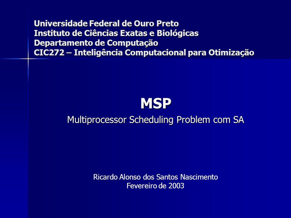 Universidade Federal de Ouro Preto Instituto de Ciências Exatas e Biológicas Departamento de Computação CIC272 – Inteligência Computacional para Otimização MSP Multiprocessor Scheduling Problem com SA Ricardo Alonso dos Santos Nascimento Fevereiro de 2003