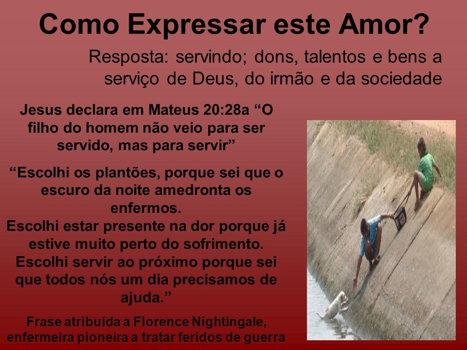 Como Expressar este Amor? Jesus declara em Mateus 20:28a O filho do homem não veio para ser servido, mas para servir Escolhi os plantões, porque sei q