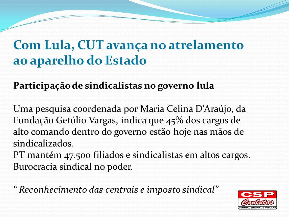 Com Lula, CUT avança no atrelamento ao aparelho do Estado Participação de sindicalistas no governo lula Uma pesquisa coordenada por Maria Celina DAraújo, da Fundação Getúlio Vargas, indica que 45% dos cargos de alto comando dentro do governo estão hoje nas mãos de sindicalizados.