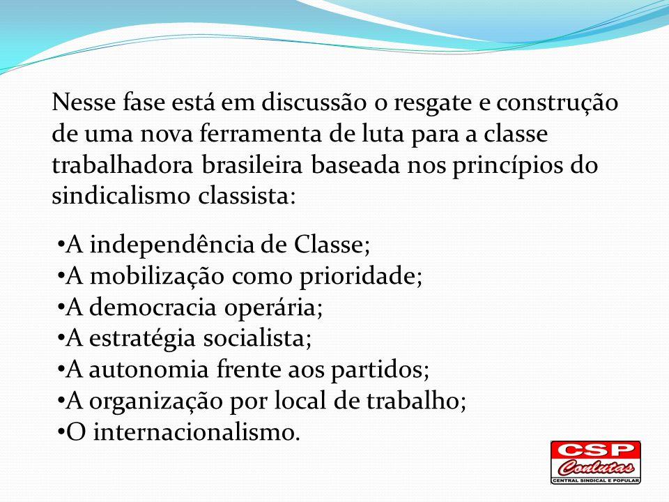 Nesse fase está em discussão o resgate e construção de uma nova ferramenta de luta para a classe trabalhadora brasileira baseada nos princípios do sindicalismo classista: A independência de Classe; A mobilização como prioridade; A democracia operária; A estratégia socialista; A autonomia frente aos partidos; A organização por local de trabalho; O internacionalismo.