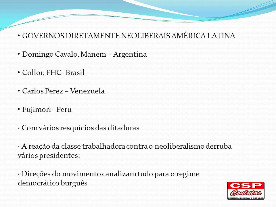 Os Governos de Frente Popular Equador - Rafael Correa Bolívia - Evo Morales Paraguai - Fernando Lugo Venezuela -Hugo Cháves Lula Brasil Chile - Micheli Bachlet Brasil – Lula/ Dilma