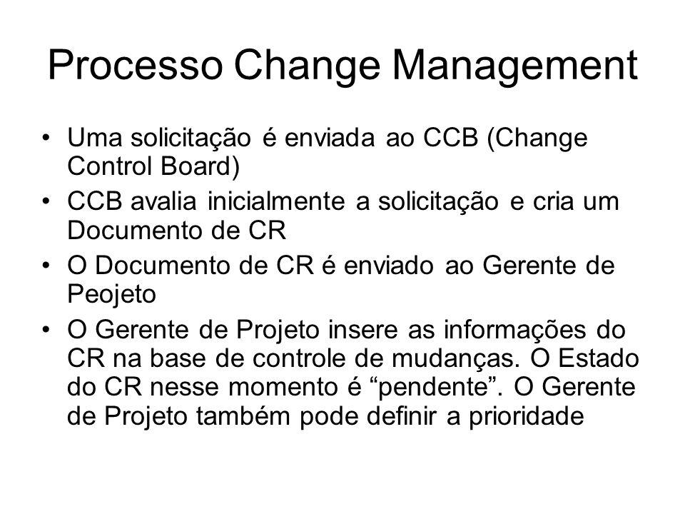 Processo Change Management Uma solicitação é enviada ao CCB (Change Control Board) CCB avalia inicialmente a solicitação e cria um Documento de CR O Documento de CR é enviado ao Gerente de Peojeto O Gerente de Projeto insere as informações do CR na base de controle de mudanças.