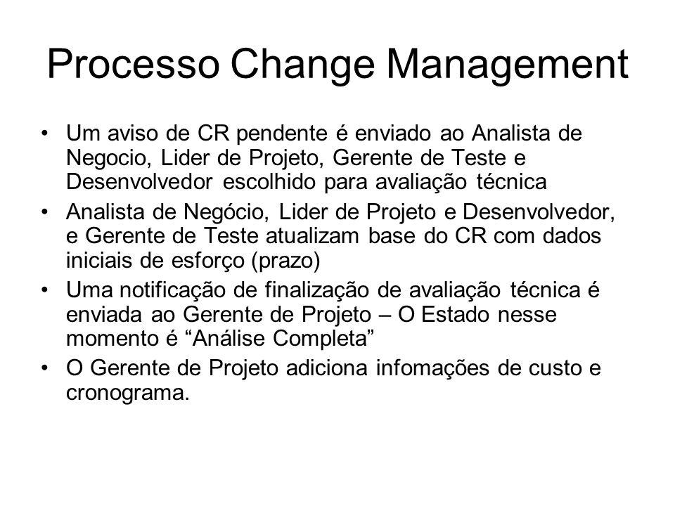 Processo Change Management Um aviso de CR pendente é enviado ao Analista de Negocio, Lider de Projeto, Gerente de Teste e Desenvolvedor escolhido para avaliação técnica Analista de Negócio, Lider de Projeto e Desenvolvedor, e Gerente de Teste atualizam base do CR com dados iniciais de esforço (prazo) Uma notificação de finalização de avaliação técnica é enviada ao Gerente de Projeto – O Estado nesse momento é Análise Completa O Gerente de Projeto adiciona infomações de custo e cronograma.