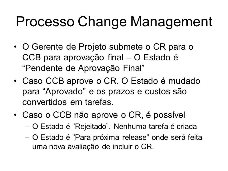 Processo Change Management O Gerente de Projeto submete o CR para o CCB para aprovação final – O Estado é Pendente de Aprovação Final Caso CCB aprove o CR.