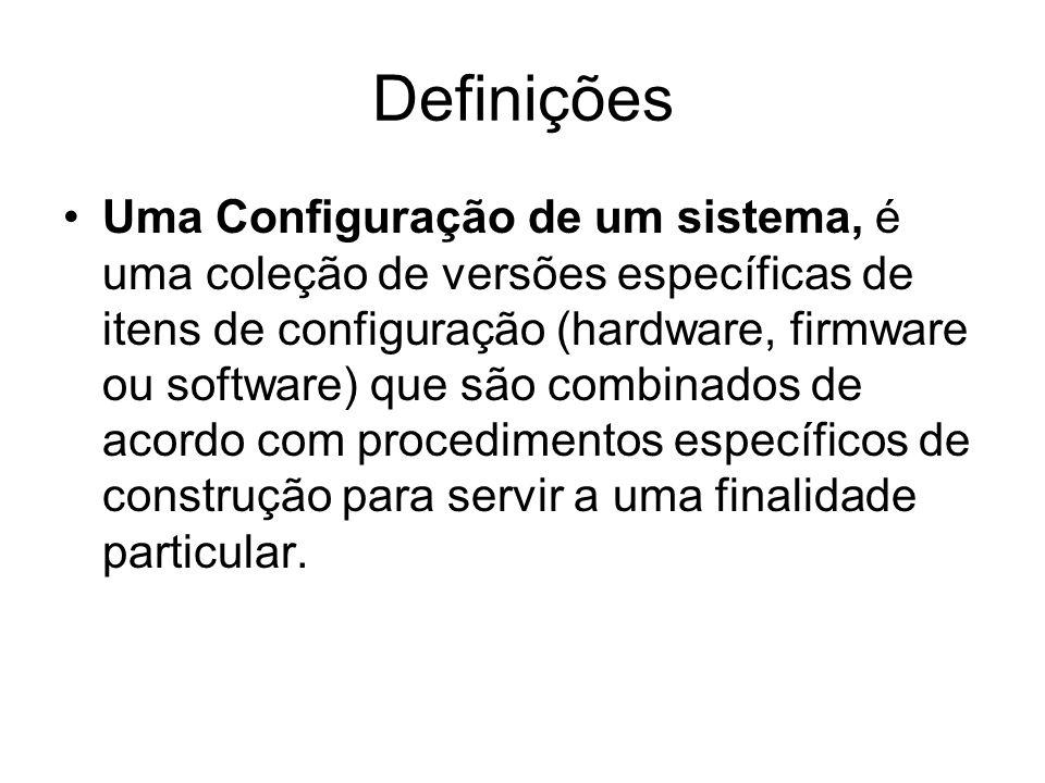 Definições Uma Configuração de um sistema, é uma coleção de versões específicas de itens de configuração (hardware, firmware ou software) que são combinados de acordo com procedimentos específicos de construção para servir a uma finalidade particular.
