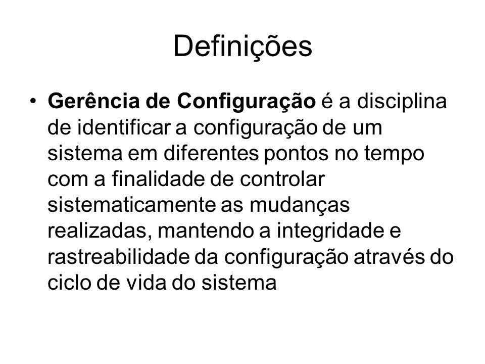 Definições Gerência de Configuração é a disciplina de identificar a configuração de um sistema em diferentes pontos no tempo com a finalidade de controlar sistematicamente as mudanças realizadas, mantendo a integridade e rastreabilidade da configuração através do ciclo de vida do sistema