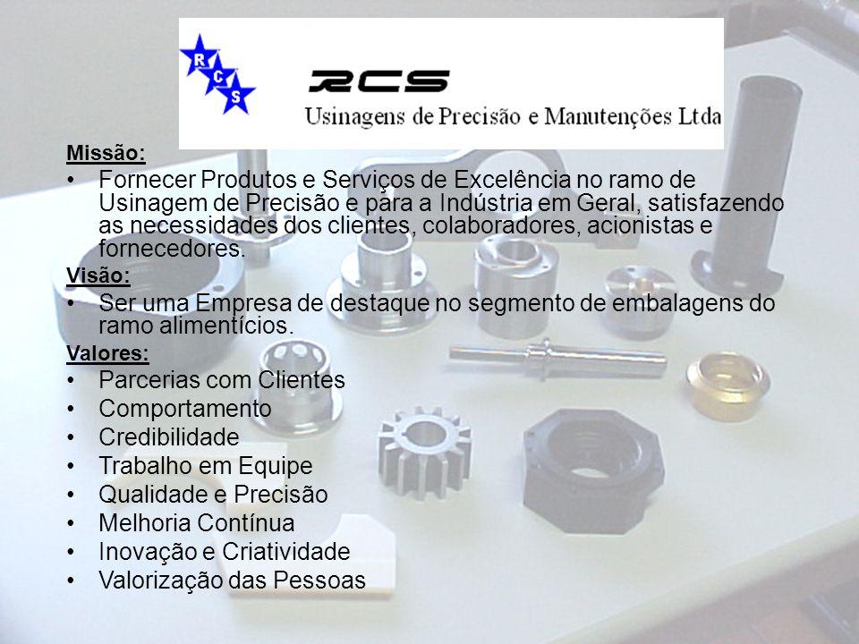 Missão: Fornecer Produtos e Serviços de Excelência no ramo de Usinagem de Precisão e para a Indústria em Geral, satisfazendo as necessidades dos clien