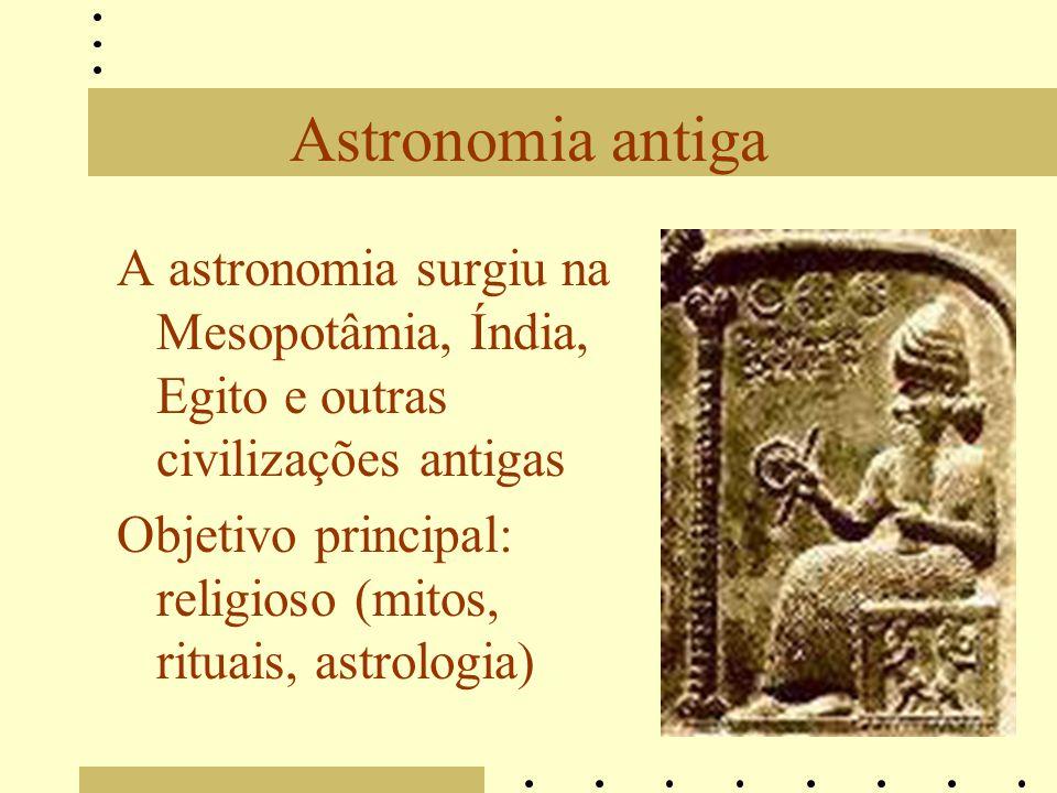 Astronomia antiga A astronomia surgiu na Mesopotâmia, Índia, Egito e outras civilizações antigas Objetivo principal: religioso (mitos, rituais, astrol