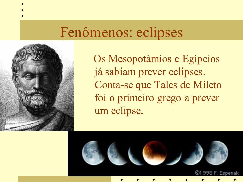 Fenômenos: eclipses Os Mesopotâmios e Egípcios já sabiam prever eclipses. Conta-se que Tales de Mileto foi o primeiro grego a prever um eclipse.