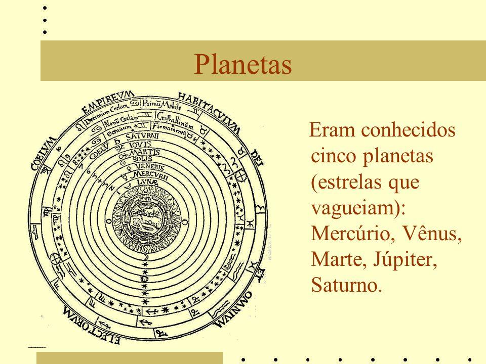 Planetas Eram conhecidos cinco planetas (estrelas que vagueiam): Mercúrio, Vênus, Marte, Júpiter, Saturno.