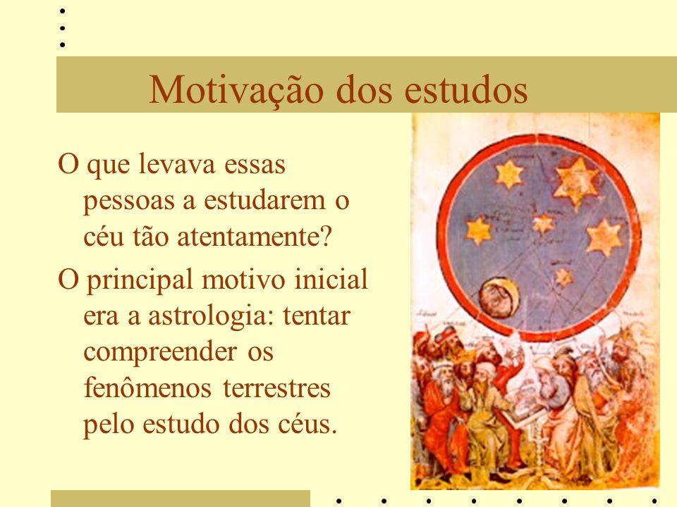 Motivação dos estudos O que levava essas pessoas a estudarem o céu tão atentamente? O principal motivo inicial era a astrologia: tentar compreender os