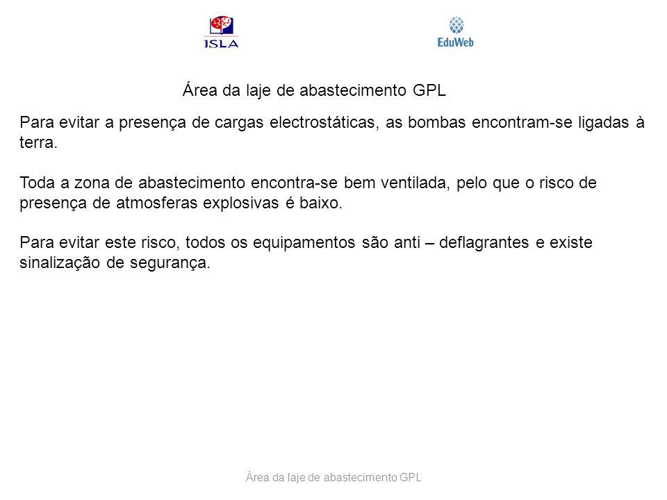 Área da laje de abastecimento GPL Para evitar a presença de cargas electrostáticas, as bombas encontram-se ligadas à terra. Toda a zona de abastecimen