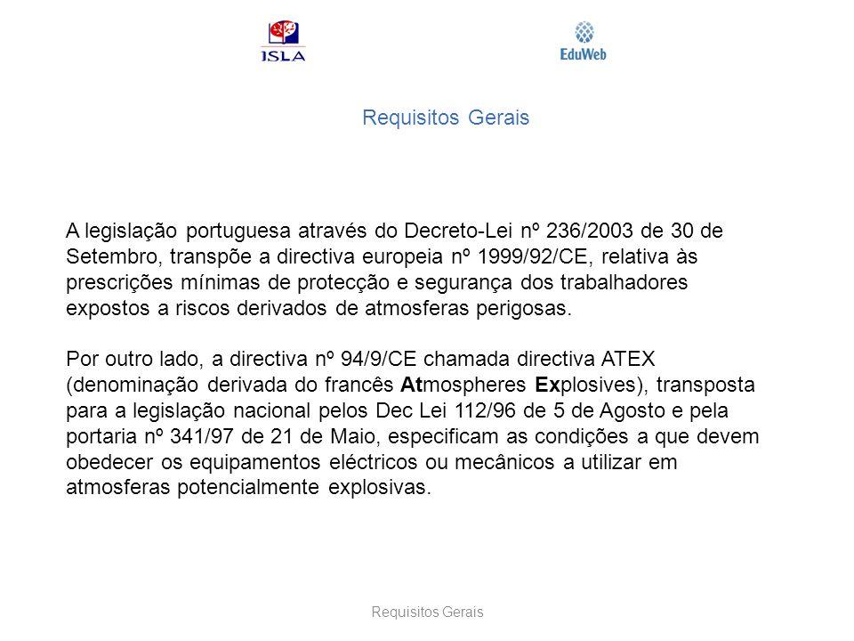 Requisitos Gerais A legislação portuguesa através do Decreto-Lei nº 236/2003 de 30 de Setembro, transpõe a directiva europeia nº 1999/92/CE, relativa