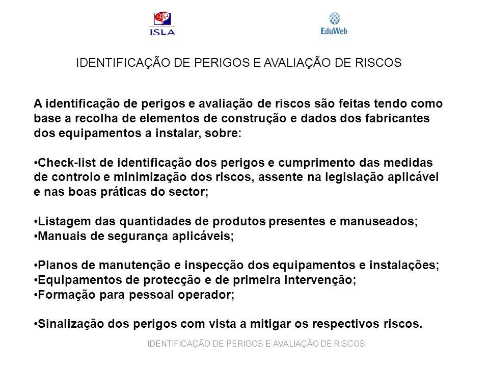 IDENTIFICAÇÃO DE PERIGOS E AVALIAÇÃO DE RISCOS A identificação de perigos e avaliação de riscos são feitas tendo como base a recolha de elementos de c