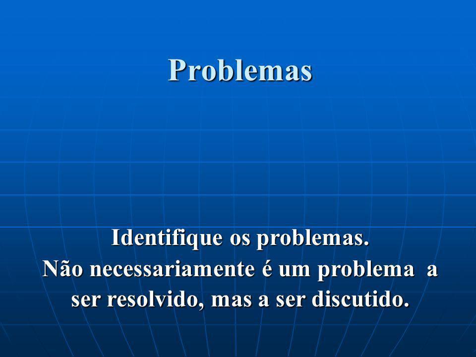 Problemas Identifique os problemas. Não necessariamente é um problema a ser resolvido, mas a ser discutido.