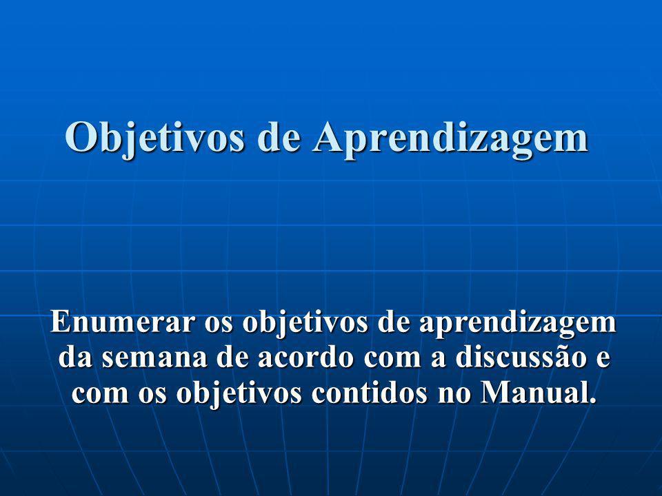 Enumerar os objetivos de aprendizagem da semana de acordo com a discussão e com os objetivos contidos no Manual.