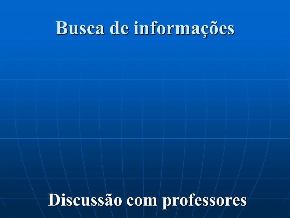 Busca de informações Discussão com professores