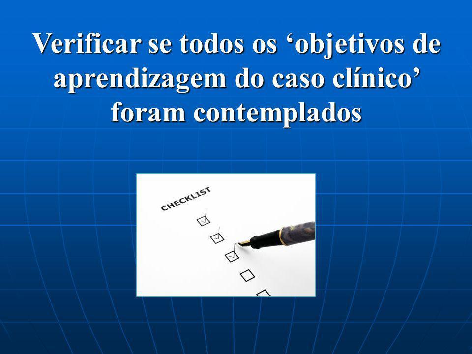 Verificar se todos os objetivos de aprendizagem do caso clínico foram contemplados