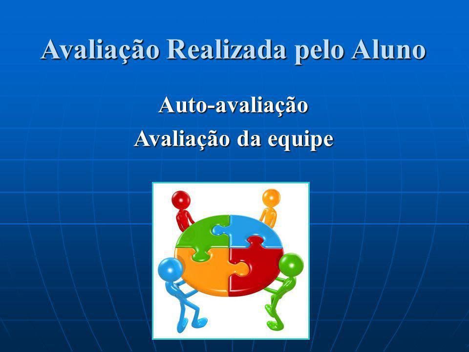 Avaliação Realizada pelo Aluno Auto-avaliação Avaliação da equipe