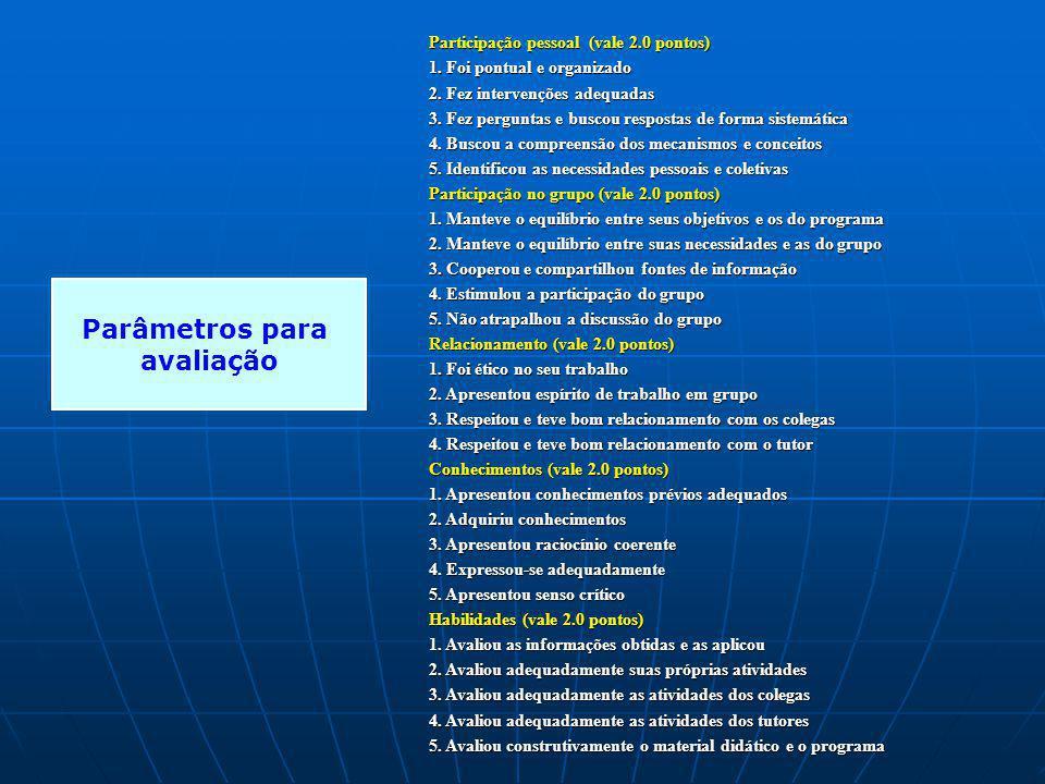 Participação pessoal (vale 2.0 pontos) 1. Foi pontual e organizado 2. Fez intervenções adequadas 3. Fez perguntas e buscou respostas de forma sistemát
