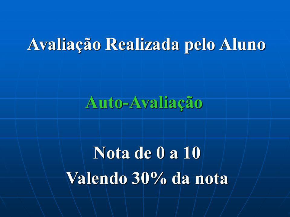 Avaliação Realizada pelo Aluno Auto-Avaliação Nota de 0 a 10 Valendo 30% da nota